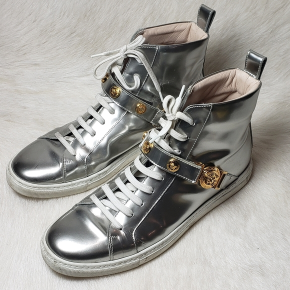 Versace Medusa Silver Patent Leather Hightop Shoes
